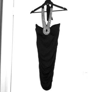 Dresses & Skirts - Semi-Formal Ruched Halter Dress w/ Silver Beading